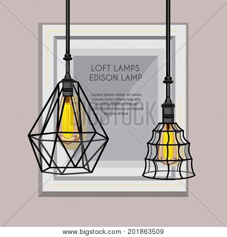 Poster with stylish, modern, geometric, designer chandeliers. Lamps Edison in the background of a frame for paintings or photos, there is a place for placing text. Loft, vintage lamps hanging free