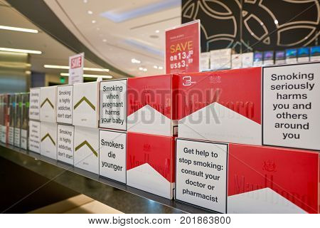 DOHA, QATAR - CIRCA MAY, 2017: marlboro on display at Hamad International Airport of Doha, the capital city of Qatar.