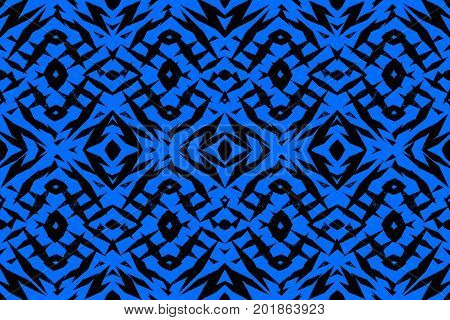 Rough blue and black tribal shapes pattern