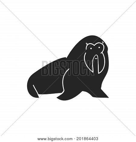 A silhouette of a walrus on a white background vector
