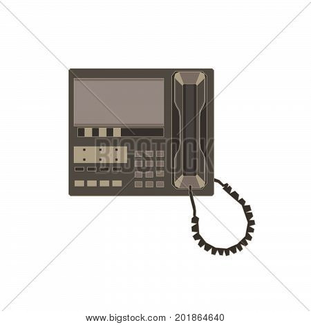 Modern telephone flat icon and vintage old retro style phone vector isolated on background white