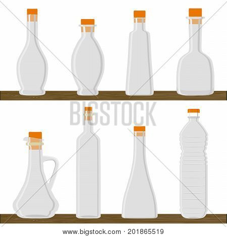 Abstract vector illustration logo for set blank templates of empty, clean transparent containers, bottle with cap for oil.