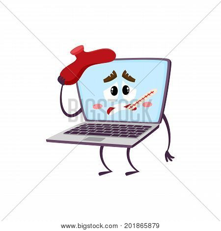 vector flat cartoon funny laptop humanized male character with arms, legs and face holding termometer in mouth, suffering from headache . Isolated illustration on a white background.