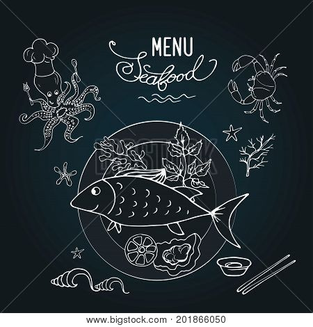Seafood And Fish On A Plate, Black Board Background