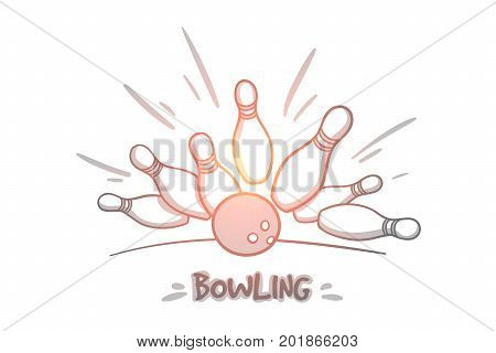 Bowling concept. Hand drawn skittles and bowling ball on the playing field. Bowling ball is making a strike isolated vector illustration.
