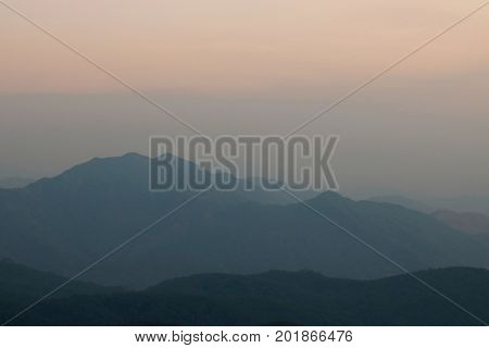 Beautiful twilight after sunset over mountain landscape at Doi Inthanon Chiangmai Thailand