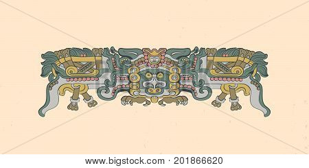 Totemic owl in flight Mayan graphic illustration. Vector artwork