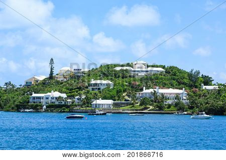 Luxury houses on the coast of Bermuda