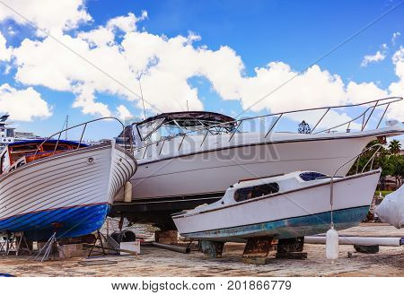 Three Boats in Dry Dock in Bermuda