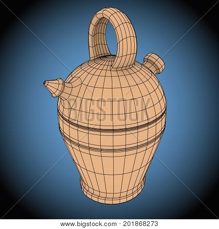 Botijo Wireframe Typical Spanish Water Container