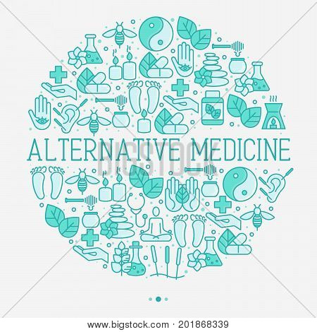 Alternative medicine concept in circle with thin line icons. Vector illustration of banner, print media or web site for yoga, acupuncture, wellness, ayurveda, chinese medicine, holistic center.