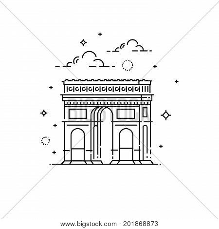 World famous Arc de Triomphe. Greatest Landmarks of Europe. Linear modern style vector icon