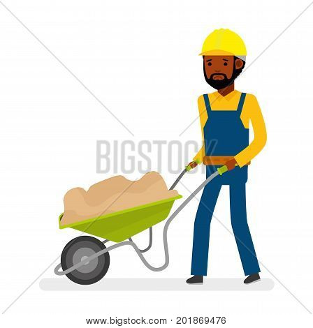 Construction worker drags on cart sand. Worker very upset. WIsolated against white background. Vector illustration. African American people. Cartoon flat style.