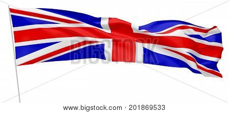 National flag of United Kingdom of Great Britain on flagpole flying and waving in wind isolated on white long flag 3d illustration.