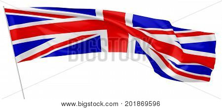 National flag of United Kingdom of Great Britain on flagpole flying and waving in wind isolated on white. Long flag. 3d illustration.
