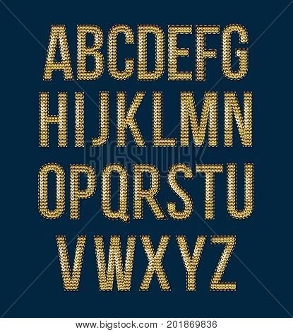 Golden font embroidered sequins to create labels for prints