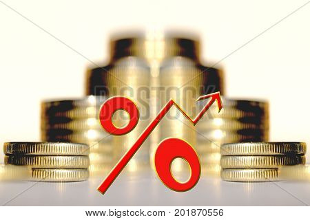 The percent symbol on the background of bars coins .
