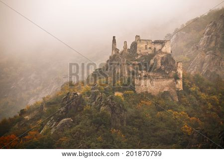 View Of Historic Castle Ruin, Colorful Autumn