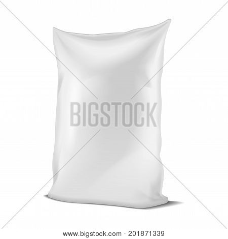 White Foil Or Paper Food or Household Chemicals Bag Packaging. sachet Snack Pouch Food For Animals. Vector mock up for your design