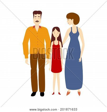 vector flat cartoon adult couple young daughter girl. Isolated illustration on a white background. Flat family characters. Adult man with mustage, young girl in red dress, adult woman in blue dress