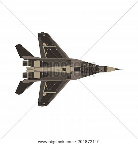 Vector fighter jet flat icon isolated. Military airplane top view illustration. Black combat defense fly
