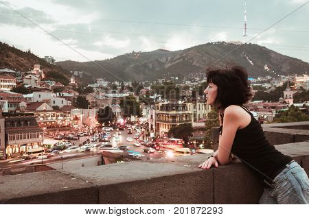 Woman with the view on Tbilisi Georgia