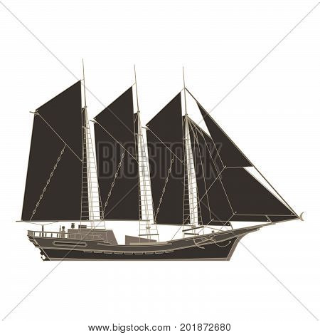 Vector pirate ship flat icon isolated. Boat side view black illustration galleon retro vintage.