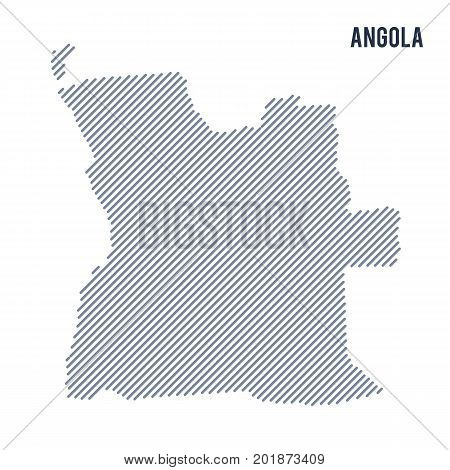 Vector Abstract Hatched Map Of Angola With Oblique Lines Isolated On A White Background.