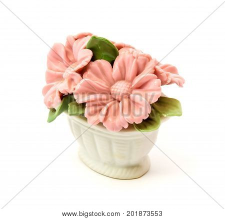 Photo of porcelain figurine baskets of flowers for the decoration of interiors