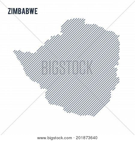 Vector Abstract Hatched Map Of Zimbabwe With Oblique Lines Isolated On A White Background.