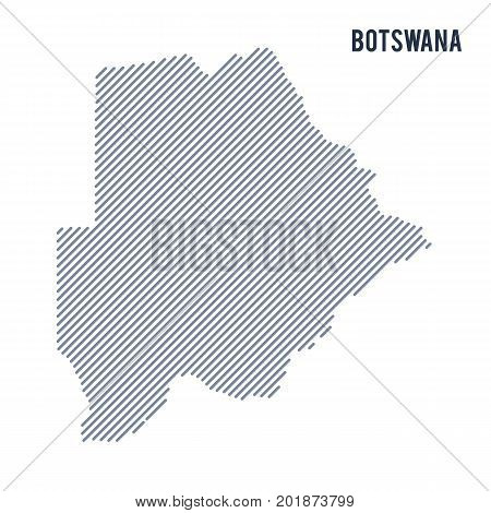 Vector Abstract Hatched Map Of Botswana With Oblique Lines Isolated On A White Background.