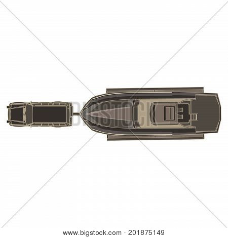 Vector car trailer with boat flat icon isolated top view illustration. Big black delivery flatbed truck tourism
