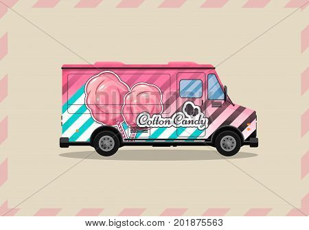 Cotton Candy, a kiosk on wheels, retail, candy and confectionery, illustrated and flat style vector illustration. Dried Cloud Dessert Illustration for your projects.