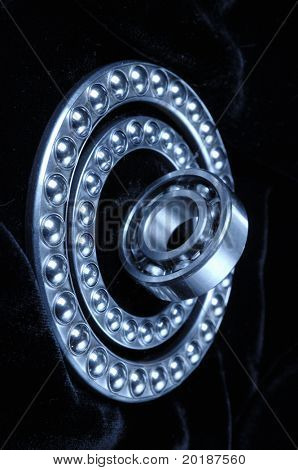 ball-bearing concept against black velvet
