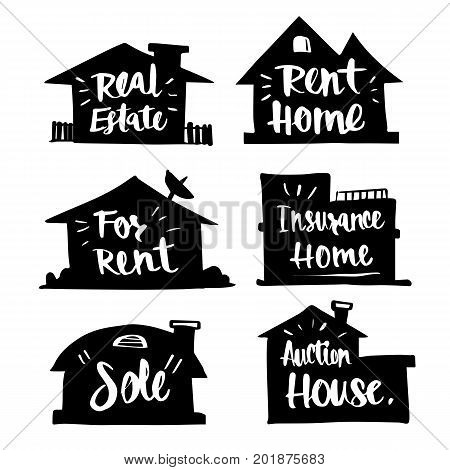Hand drawn Caligraphy in silhouette house real estate rent home Happy for rent insurance home sold auction home icon or logo. Lettering calligraphy vector illustration.