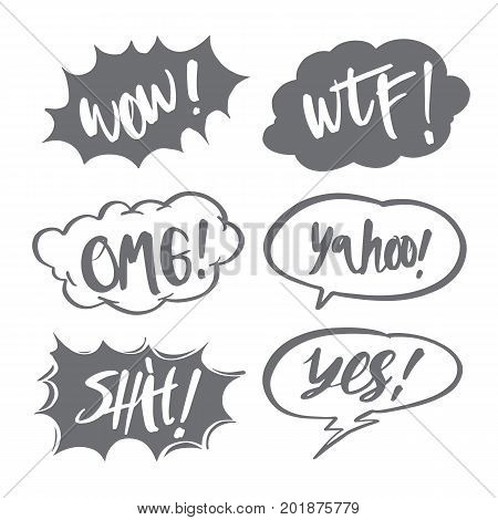 Hand drawn comic speech bubbles and calligraphy set with different emotions and text Wow WTF OMG Shit Yes Yahoo Vector bright dynamic cartoon illustrations isolated on white background.