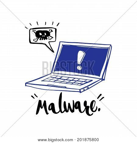 Hand drawn calligraphy about notification alert malware and computer illustration vector design.