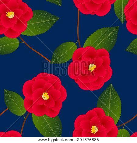 Red Camellia Flower on Indigo Blue Background. Vector Illustration.