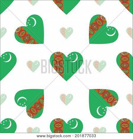 Turkmenistan Flag Patriotic Seamless Pattern. National Flag In The Shape Of Heart. Vector Illustrati