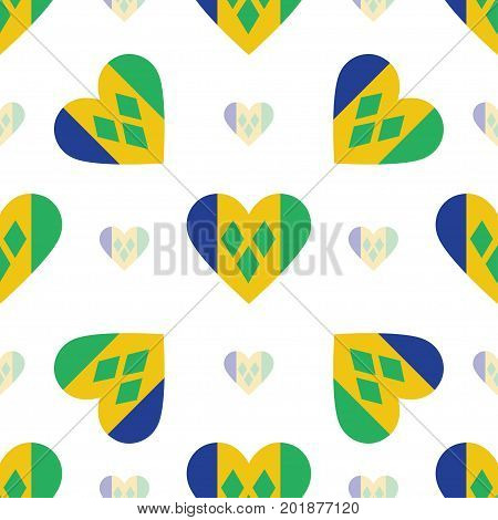 Saint Vincent And The Grenadines Flag Patriotic Seamless Pattern. National Flag In The Shape Of Hear