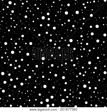 White Polka Dots Seamless Pattern On Black Background. Remarkable Classic White Polka Dots Textile P