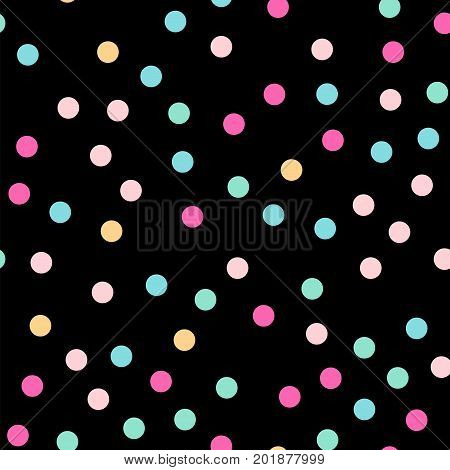 Colorful Polka Dots Seamless Pattern On Black 3 Background. Glamorous Classic Colorful Polka Dots Te