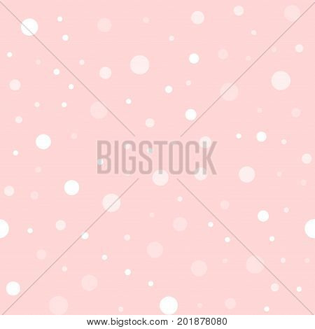 White Polka Dots Seamless Pattern On Pink Background. Curious Classic White Polka Dots Textile Patte