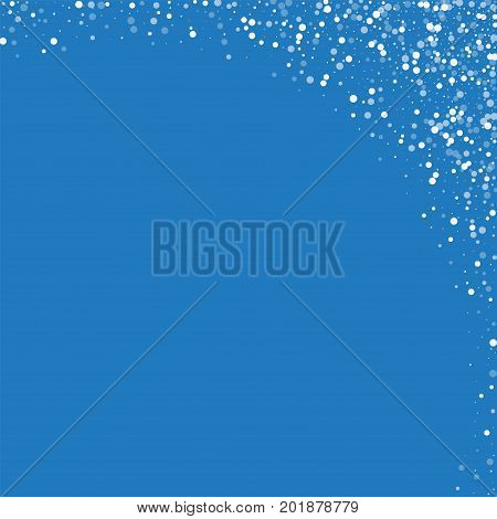 Random Falling White Dots. Abstract Right Top Corner With Random Falling White Dots On Blue Backgrou