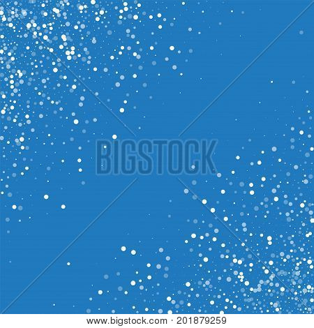 Random Falling White Dots. Abstract Chaotic Scatter With Random Falling White Dots On Blue Backgroun