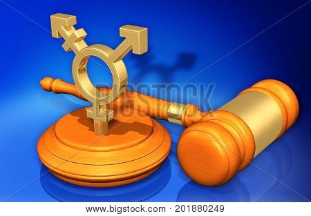 Transgender Symbol Law Concept 3D Illustration
