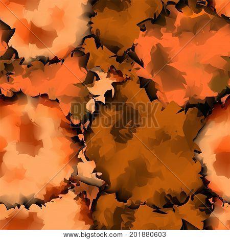 Orange Black Seamless Watercolor Texture Background. Memorable Abstract Orange Black Seamless Waterc