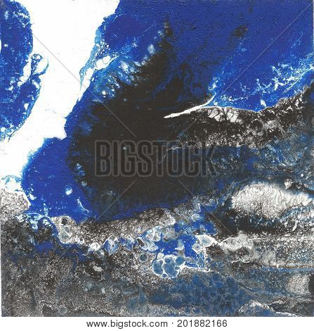 Liquid Acrylic paint, liquid artwork, abstract colorful background with colored painted cells, stains. Blue, white and black retro colors