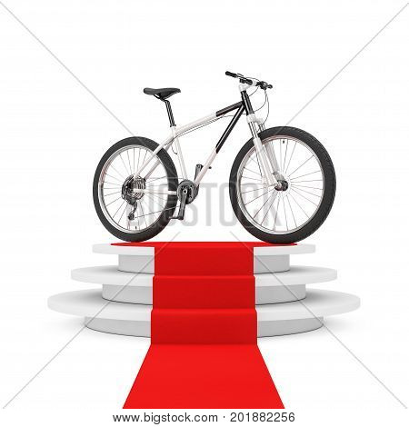 Black and White Mountain Bike over Winner Podium with Red Carpet on a white background. 3d Rendering