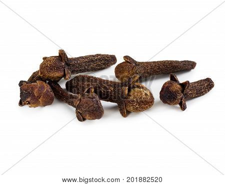 Spice Cloves Isolated On White Background.